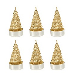 Home Collection - Pack of 6 gold Christmas tea lights