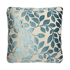 Debenhams - Duck Egg Blue Burnout Leaf Cushion