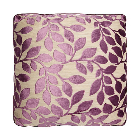 Debenhams - Mauve Burnout Leaf Cushion