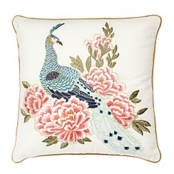 Home Collection - Cream embroidered satin peacock cushion