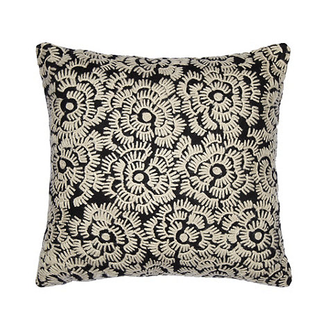 Debenhams - Black floral felt cushion