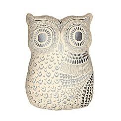 Debenhams - Beige embroidered owl cushion