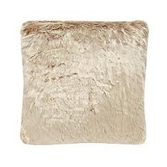 Debenhams - Natural faux fur cushion