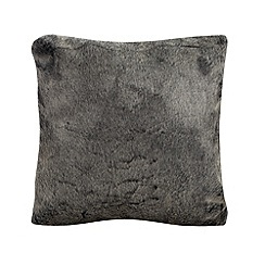 Home Collection - Black 'snow top' faux fur cushion