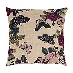 Debenhams - Cream textured butterfly print cushion
