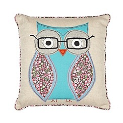 Debenhams - Natural stitched geeky owl cushion