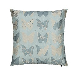 Home Collection - Pale blue butterfly embroidered cushion
