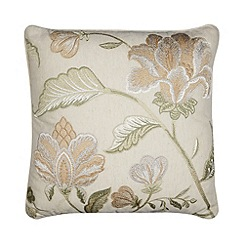 Home Collection - Green floral embroidered cushion