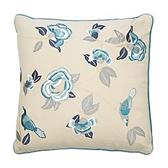Home Collection - Blue embroidered birds cushion