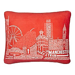 We Love Cushions - Red Manchester cushion
