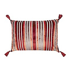 Debenhams - Red striped tassel cushion