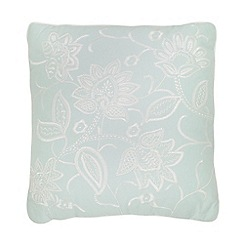 Debenhams - Teal folk embroidery print cushion