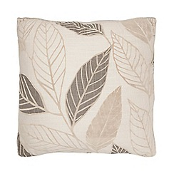 Debenhams - Beige leaf flocked cushion