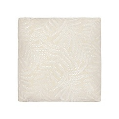 Debenhams - Cream leaf embellished print cushion