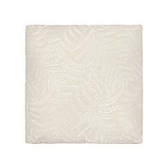 Debenhams - Cream leaf embellished print cushion