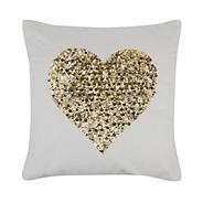 'Cosmo' Cream sequin heart cushion