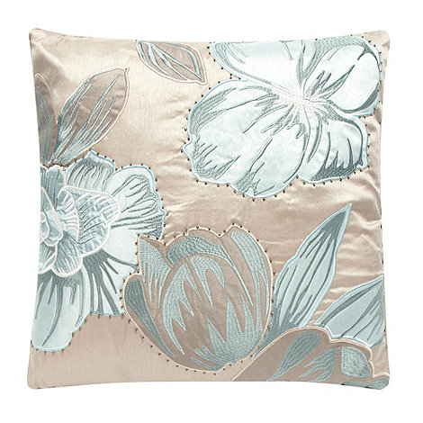 Debenhams - Natural embroidered floral cushion