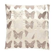 Natural butterfly embroidered cushion