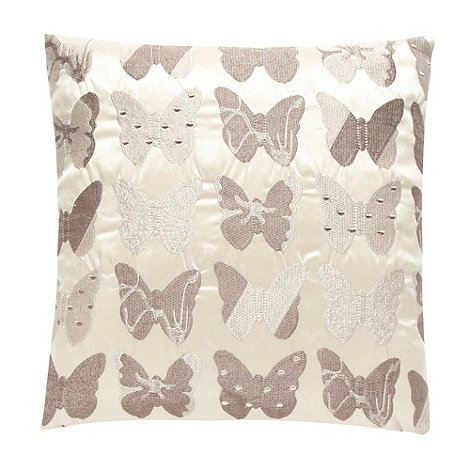 Debenhams - Natural butterfly embroidered cushion