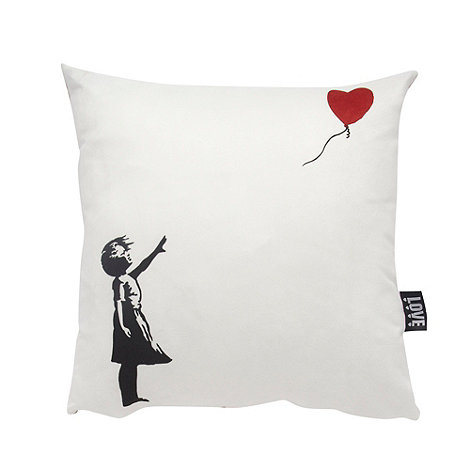 We Love Cushions - Banksy inspired girl with balloon cushion