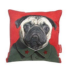 We Love Cushions - Red 'Pets Rock Chairman Growl' print cushion