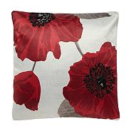 Red 43x43cm poppy cushion