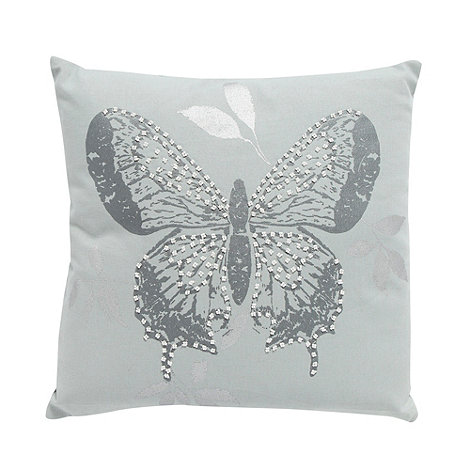 Debenhams - Pale blue embellished butterfly cushion