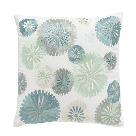 Home Collection - White embroidered floral cushion