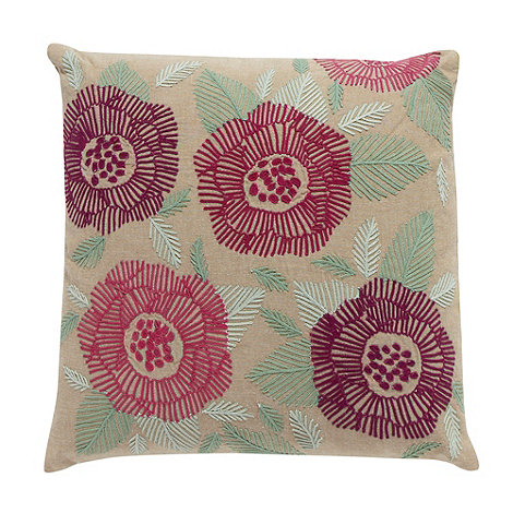 Debenhams - Natural floral embroidered cushion