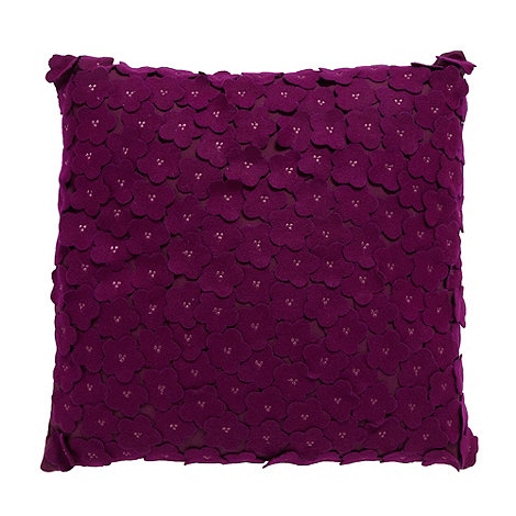Debenhams - Dark purple felt flower cushion