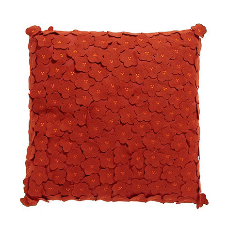 Debenhams - Orange felt flower cushion