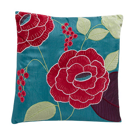 Debenhams - Turquoise velvet floral applique cushion