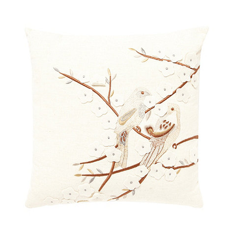 Debenhams - Natural embroidered birds cushion