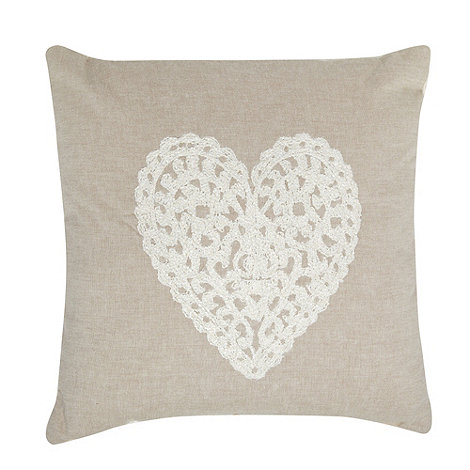 Home Collection - Natural embroidered heart cushion