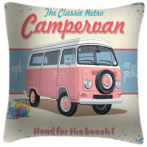 We Love Cushions - VW head for the beach cushion by martin wiscombe