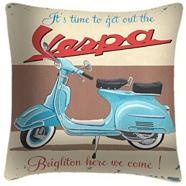 Vespa brighton here we come cushion by martin wiscombe