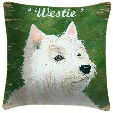 We Love Cushions - Green dog motif cushion