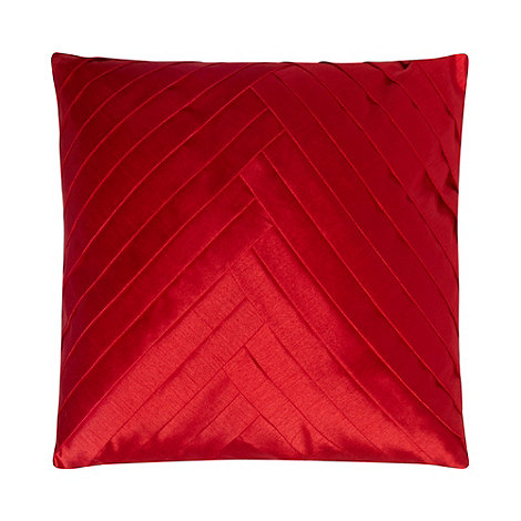 Debenhams - Red chevron pintuck satin cushion