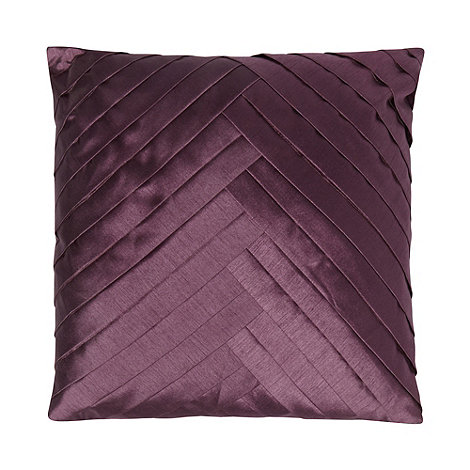 Debenhams - Purple chevron pintuck satin cushion