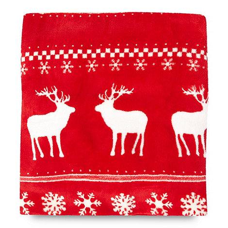 Debenhams - Red Christmas snowflake fleece throw