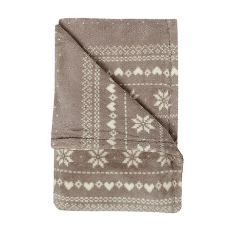 Debenhams - Taupe fairisle fleece throw
