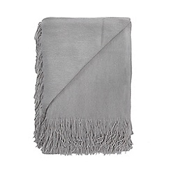 Home Collection - Light grey super soft tasseled throw