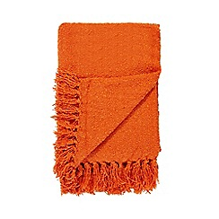 Debenhams - Orange fringed edges throw