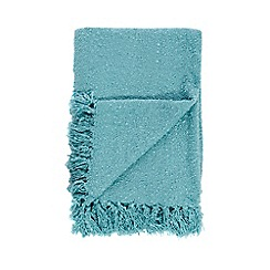 Debenhams - Turquoise fringed eges throw