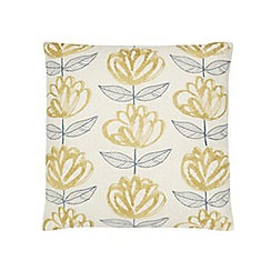 Home Collection - Yellow embroidered floral print cushion
