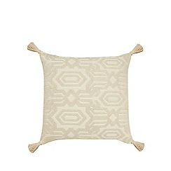Home Collection - White jacquard woven cushion