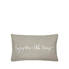 Home Collection - Grey 'Enjoy the little things' slogan cushion
