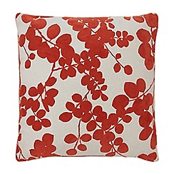 Home Collection - Orange flocked leaf cushion