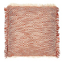 Home Collection - Orange textured fringed cushion