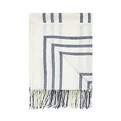 Home Collection - Pale blue striped print tasselled throw
